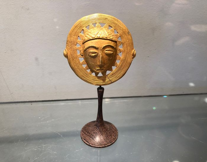 Large ancient pendant in solid gold 20-22k - ASHANTI - Ghana