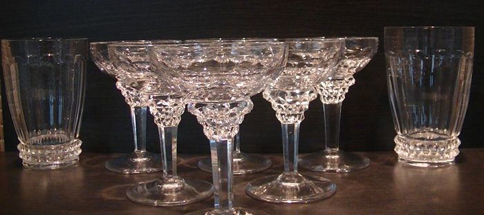 Jan Eisenloeffel Kristalunie - 6 liqueur coupes and 2 water cups