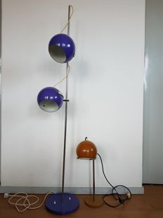 Unknown designer - floor lamp and table lamp, with adjustable spheres