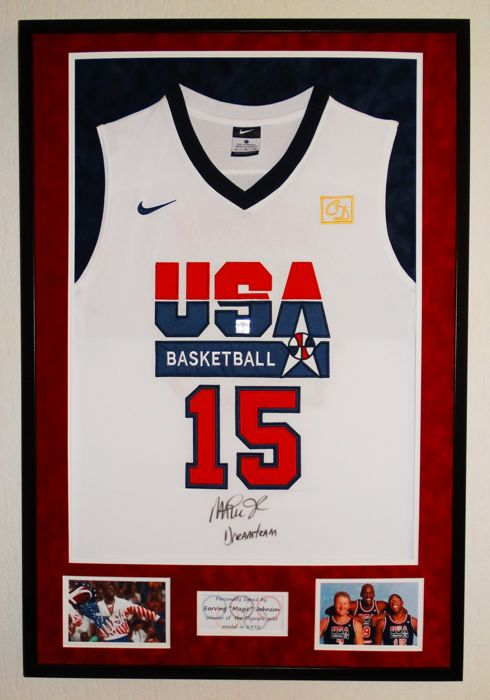 Magic Johnson - Original signed 1992 USA Olympic Games jersey - Premium Framed + COA Authentic Signings with photo of the signing session