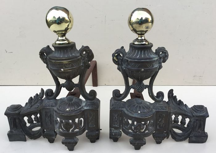 Louis Xvi Stoel : A set of bronze and brass andirons in louis xvi style ca