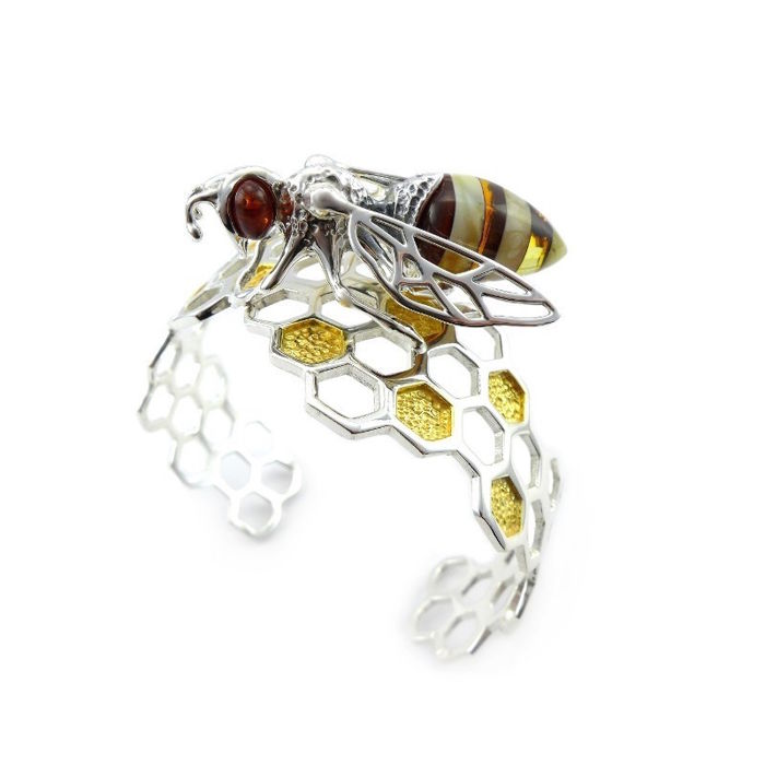 """Bracelet"""" the Bee on honeycombs""""- Natural Baltic amber - Zilver 925 - High quality - no pressed"""