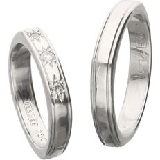 14 kt. - Set of white gold designer wedding rings by Desiree. The small ring is set with 1 brilliant cut diamond and 2 single cut diamonds of 0.09 ct in total. - Ring size: 17 mm and 20 mm