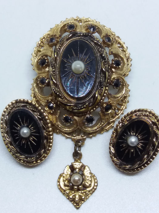 0508b3845f7 Victorian set revival style French Jet, seed pearl Intaglio dropper brooch  and matching oval clip