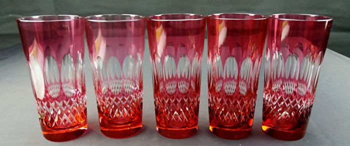 Crystal set consisting of five whisky/cognac glasses - Red - Blueberry