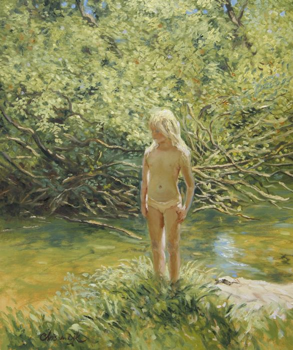 "Chris van Dijk -  ""Girl on the banks of a stream"""