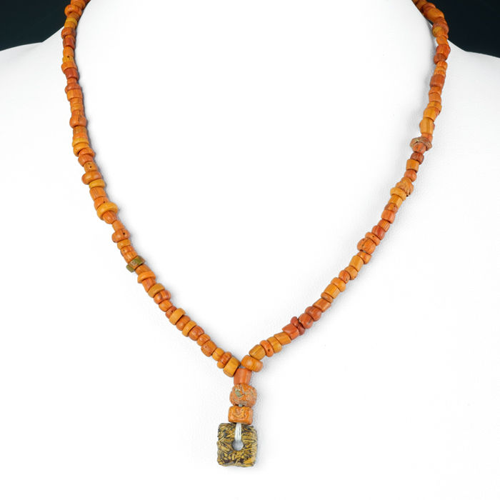 Oud-Romeins Glas Necklace with orange glass beads - 42 cm - (1)