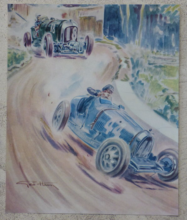 3 drawings of Geo Ham - Bugatti, Bentley, Amilcar, Voisin, Hispano, Stutz