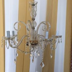 5-light Maria Theresa style crystal glass chandelier - made in Italy