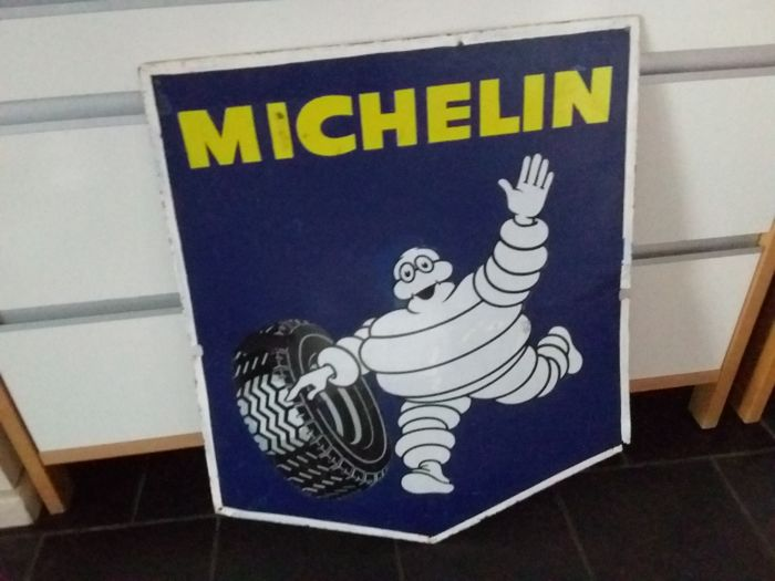 Large enamel metal double-sided sign France - 1955