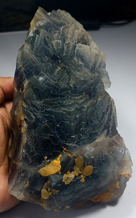 Larg blue fluorite Crystals natural specimen - 193 x 103 x 73mm 2042 grams