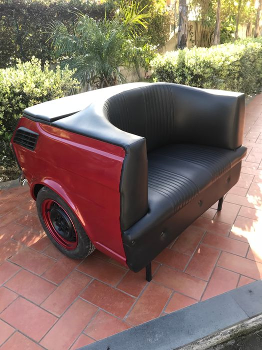 Fiat 126 Sofa with working lights and remote controller. With a rear storage cabinet.