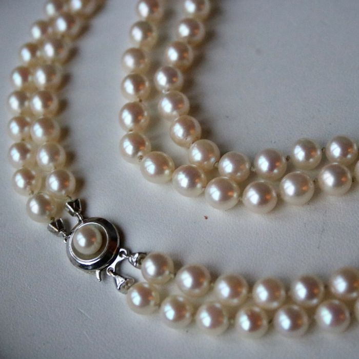 Natural Saltwater Pearl Necklace: 2-row Pearl Necklace With Natural Salt Water Ivory