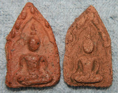 Lot with 2 baked clay amulets Buddha - Thailand - (big+ small) mid 17th century