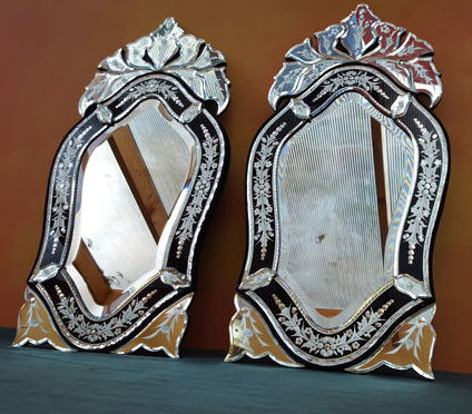 A pair of Venetian cut glass mirrors, second half of 20th century