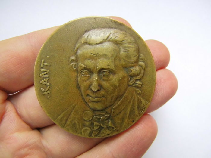 Germany - Big Bronze Medal 1904 by Albert Moritz Wolff commemorating to 100 Years of Death of Immanuel Kant 12th Feb. 1904