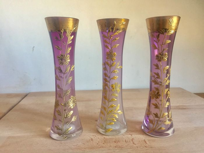 Three Amethyst Bohemian Glass Vases With Enamel Flowers And Gold