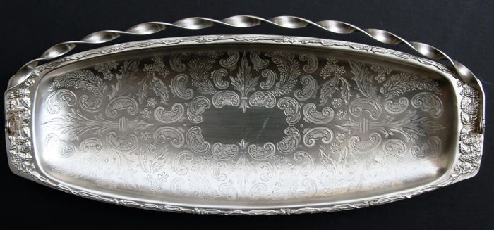 Antique Silver Plated Large Oblong Oval Footed Bowl with Folding Handle, European, c. 1890