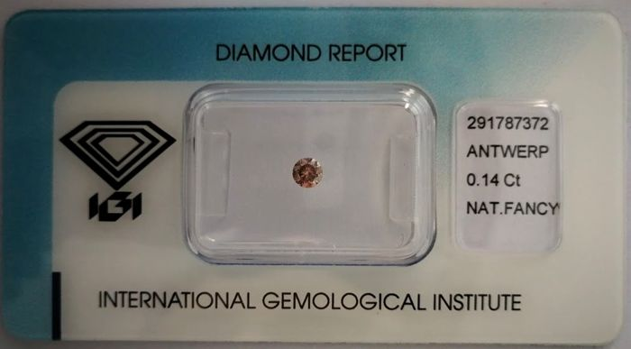 Natural Fancy Deep Brownish Pink Diamond 0.14 ct  with IGI cert ***No minimum price***