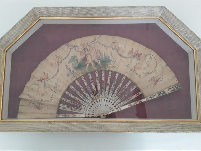 French fan with rods in bone and painted paper, 1848