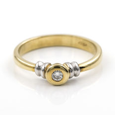 18 kt yellow gold - Solitaire - Central brilliant-cut diamond 0.10 ct - Ring size 15 (Spain)