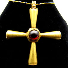 Medieval Crusaders Period Gold Cross Pendant with Red Stone  - 57x48mm