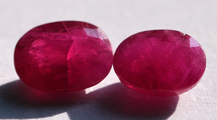 Two Rubies - 1.21 ct. + 1.21 ct - 2.42 ct. total