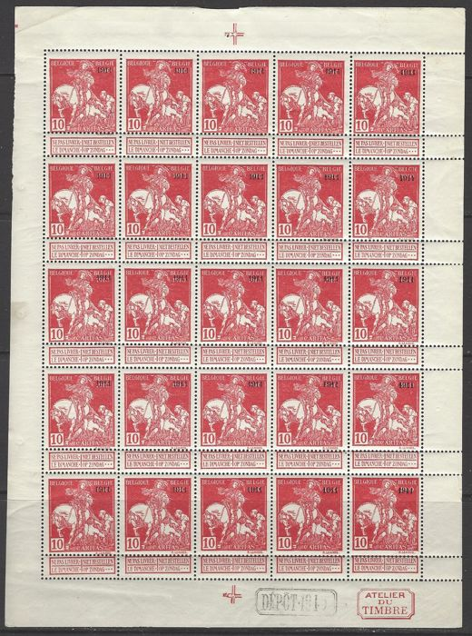 Belgium 1911 - Caritas 10c carmine type Lemaire with overprint '1911' in complete sheet of 25 stamps - OBP no. F99