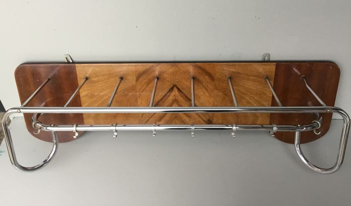 Chrome-plated coat rack - with inlaid wood, Netherlands, 1940s