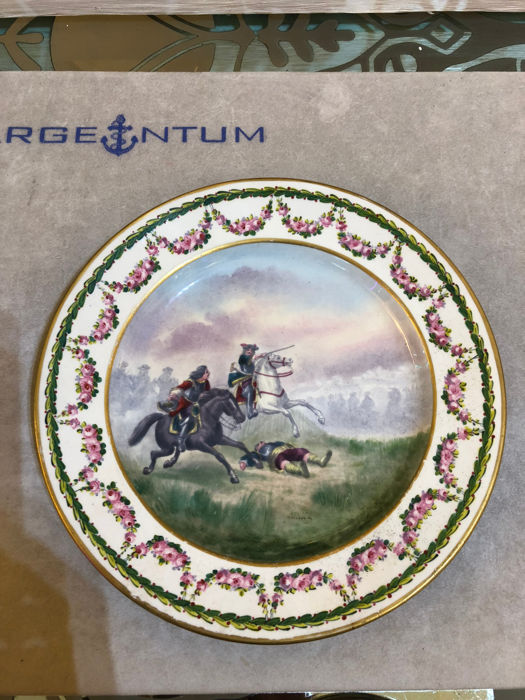 Porcelain plate painted in polychromy - Sevres style