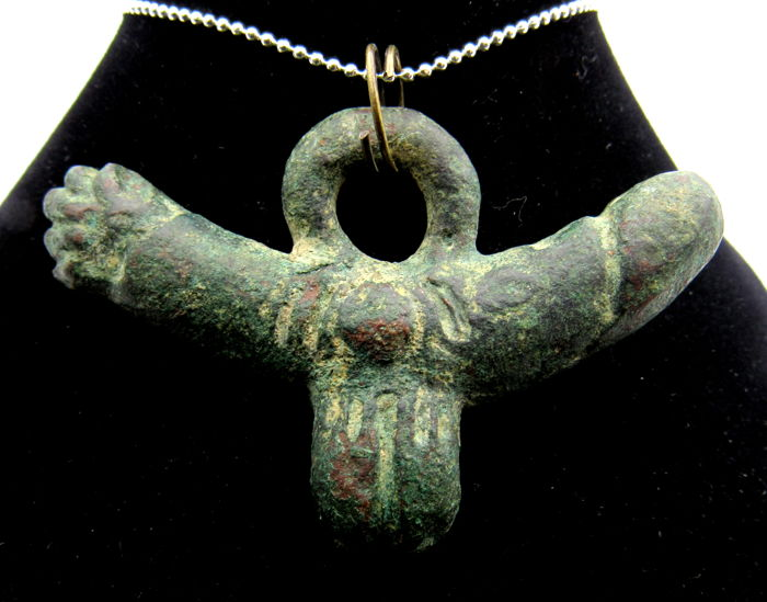 Ancient Roman Bronze Fertility Pendant With 2 Male And 1 Female
