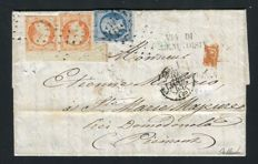 France 1855 – Rare letter from Paris to Sainte Marie Majeure (Piedmont 1855) with a pair of Yvert no. 16 framing borderline.