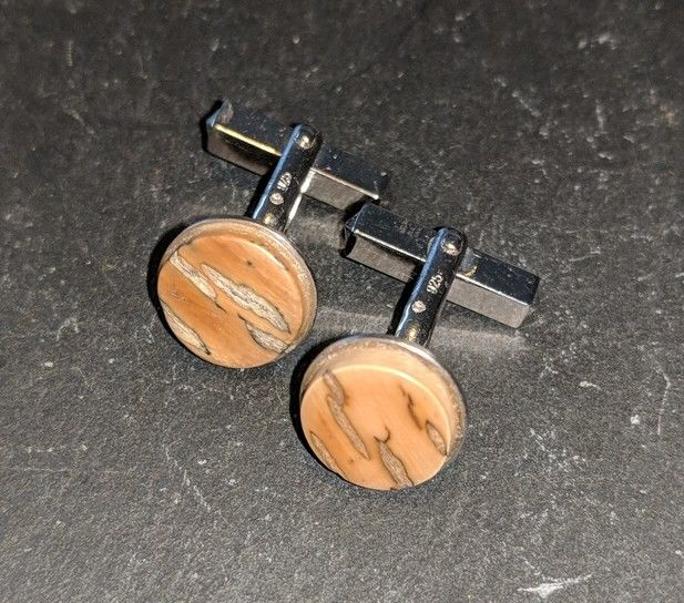 Handmade vintage mammoth ivory cuff links 925er silver