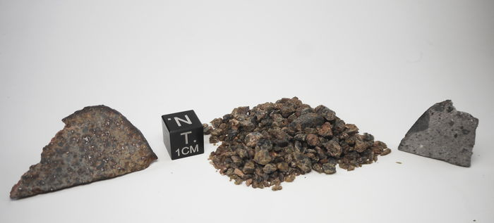 Three Meteorites, L5 Mount Tazerzait - 4.2 g Achondrite Diogenite Vesta - 12 g Achondrite Howardite Vesta - 2.7 g