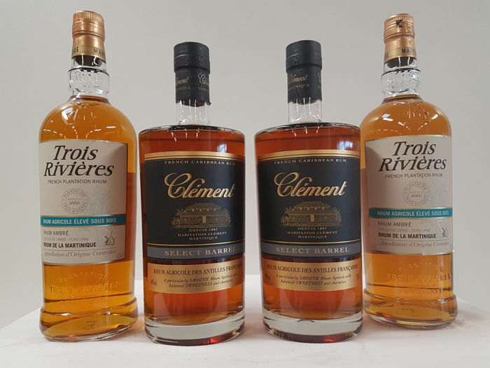 4 bottles 2x french caribbean rum clement select for Clement boisvert meuble trois rivieres