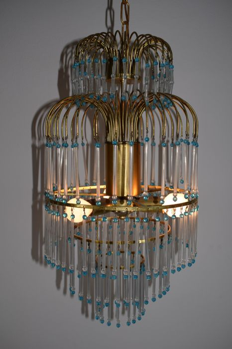 Brass and glass chandelier, Italy, 1960s
