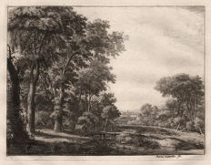 Anthonie Waterloo (1610-1690) - A small wooden bridge near the edge of a forest