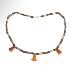 Egyptian Gold, Lapis and Three Cornelian Lotus Amulets Necklace, 43.7 cm L / pendants from 1.5 cm L to 1.7 cm L