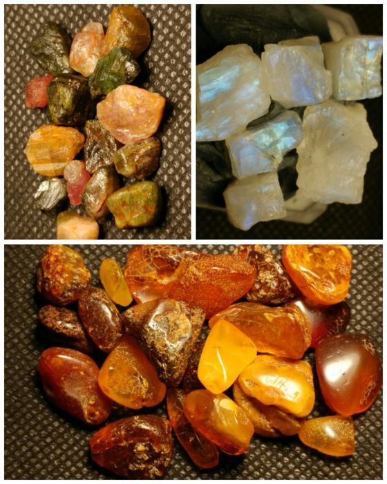 Amber, tourmaline, moonstone. Crystal - 0.5-2 - 45.4
