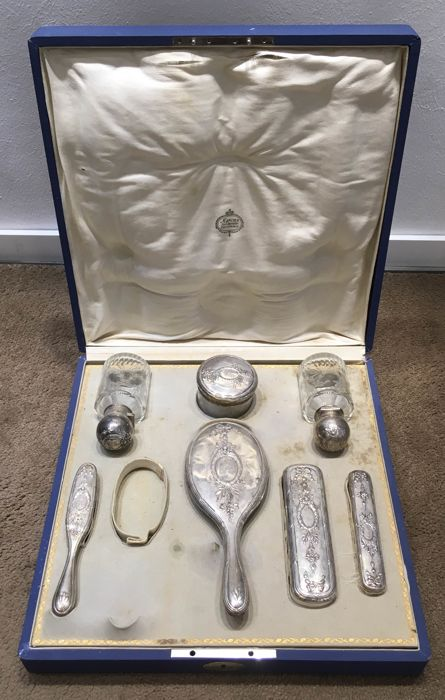 Travel hairdo set 800 silver, Storck & Sinsheimer, Hanau, Germany, 1920s