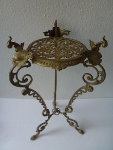 Ornate brass side table /plant table / flower table, 1930s