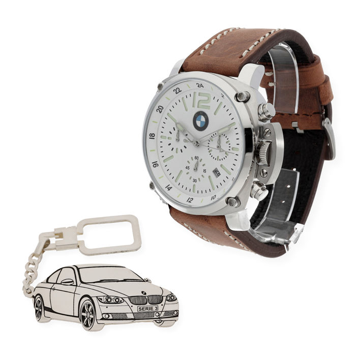 S&S men's watch for BMW + Sterling silver key ring with a reproduction of the M3 model