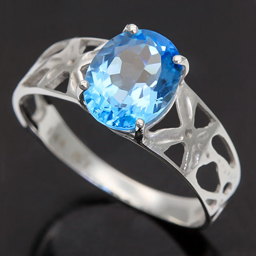 2.08 cts Sky Blue Topaz 14K White Gold Ring set - 7 (US) ***No reserve price***