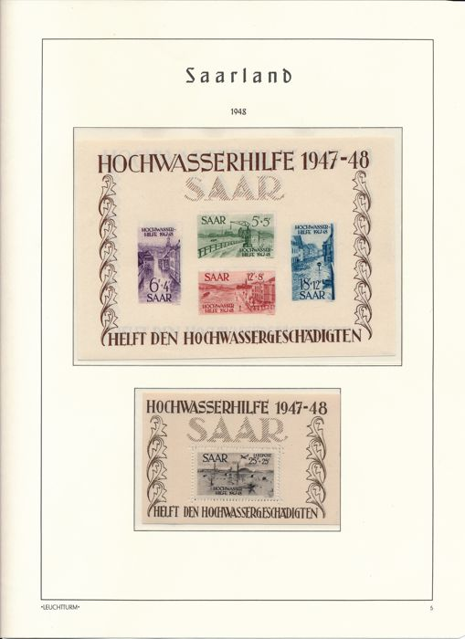 Germany Saarland - 1947 - 1959 - complete collection with Blocks 1 & 2 verified Ney BPP and OPD Saarbrücken and official stamps on lighthouse album pages