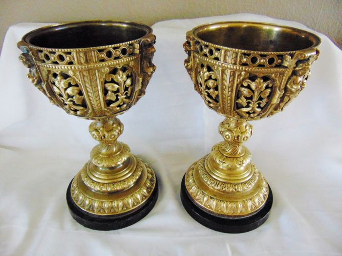 2 large bronze brass baroque chalices, Spain 16th