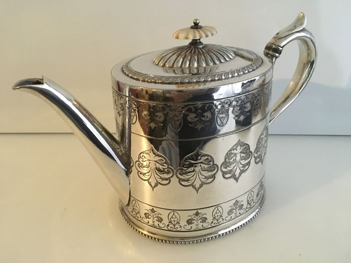 Vintage silver plated highly engraved and embossed decorated tea pot - second half of 18th century. England.