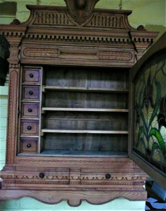 large armoire murale bois pharmacie apothicaire porte. Black Bedroom Furniture Sets. Home Design Ideas