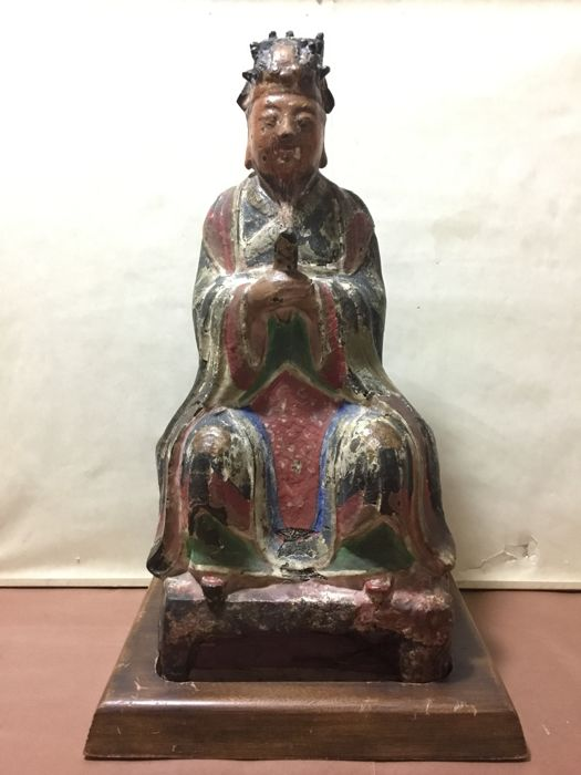 A  large polychrome bronze seated figure of the Jade Emperor holding a Hu - China -   17th century