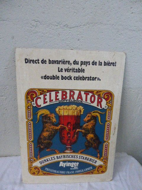 Lot of two advertising posters in cardboard for Celebrator beer, Ayingerz Bier, and Lesieur, circa 1970, second half of the 20th century