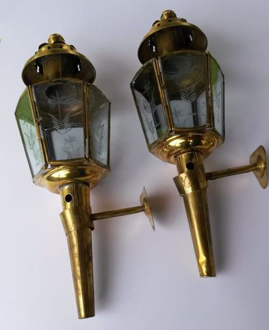 2 Antique Wall Or Coach Lamps
